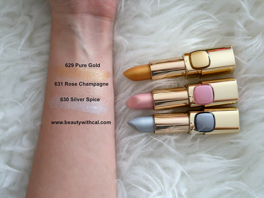 Swatches L'Oreal Color Riche Metallic Lipsticks