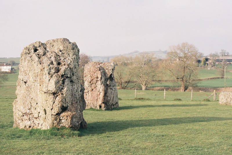 Stanton Drew stone circle, with Maes Knoll in the distance