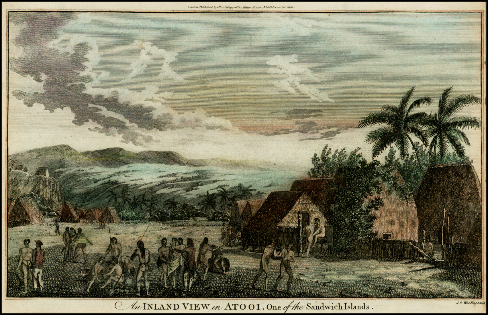 A hand-coloured lithograph depicting a village visited by Captain James Cook near Waimea, Kauai, in the Sandwich Islands (now known as the Hawaiian Islands). Based on an 1778 etching by John Webber which was published by William Hodges, it is one of the few views of Hawaii made during Cook's third voyage (1776–1779).