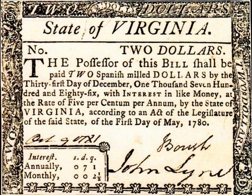 Virginia May 1780 $2 note