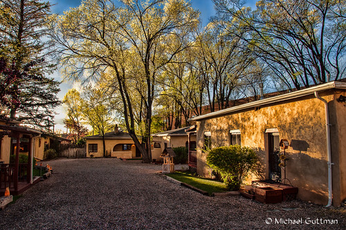 taos newmexico trees sunlight buildings driveway sky light nikon d90 spring adobe