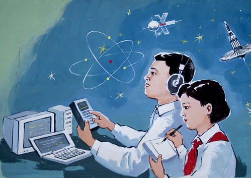 Propaganda poster showing North Korean students using computers, Pyongan Province, Pyongyang, North Korea