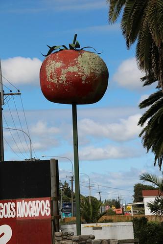 big tomato on a pole