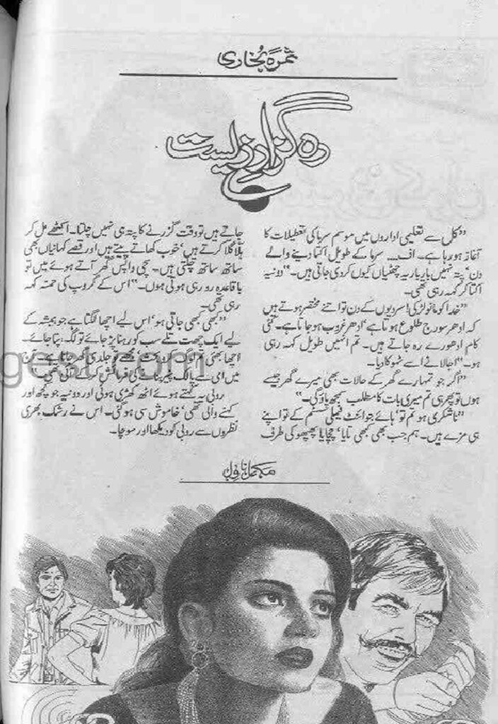Rah Guzar e Zeest is a very well written complex script novel by Samra Bukhari which depicts normal emotions and behaviour of human like love hate greed power and fear , Samra Bukhari is a very famous and popular specialy among female readers
