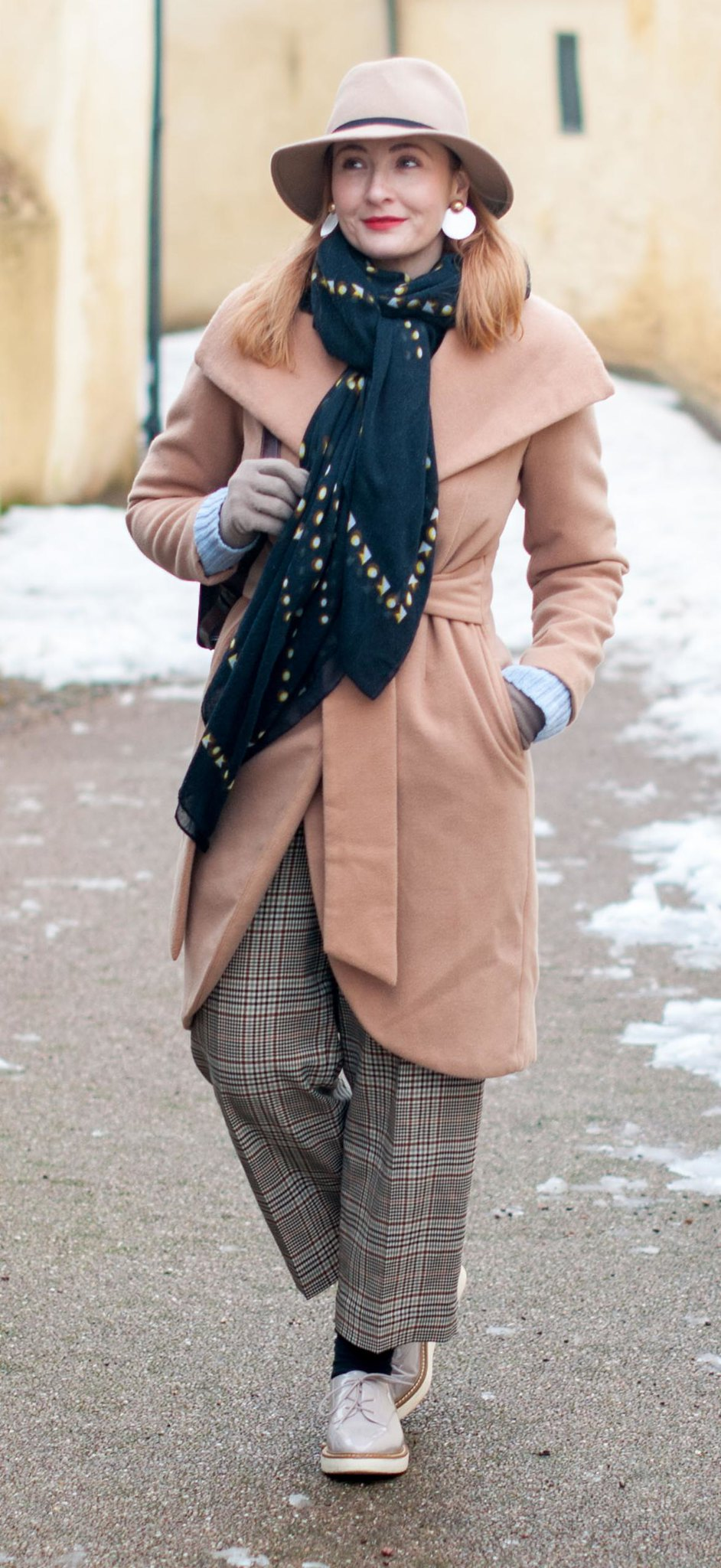 How to Stay Smart and Stylish in the Snow \ winter wear \ winter dressing \ camel wrap coat \ camel fedora hat \ wide leg crop Prince of Wales check trousers \ heritage check pants \ taupe flatform lace-ups | Not Dressed As Lamb, over 40 style