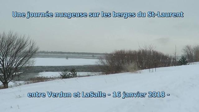 Vidéo: Une journée nuageuse sur les berges du St-Laurent , 16 janvier 2018