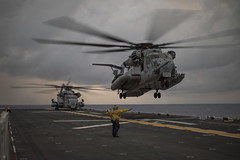 A Marine Corps CH-53E Super Stallion lands on the flight deck of the USS Bonhomme Richard (LHD 6) during operations in the Philippine Sea, Feb. 4. (U.S. Navy/MC2 William Sykes)