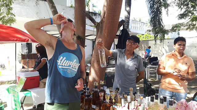 Free tequila tasting at the organic market in Bucerias