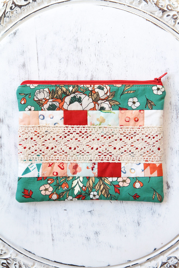 Love Story & Lace Zipper Pouch