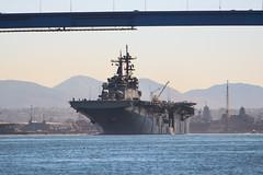 USS Essex (LHD 2) transits under the Coronado Bridge, March 5. (U.S. Navy/Lt. Matthew A. Stroup)