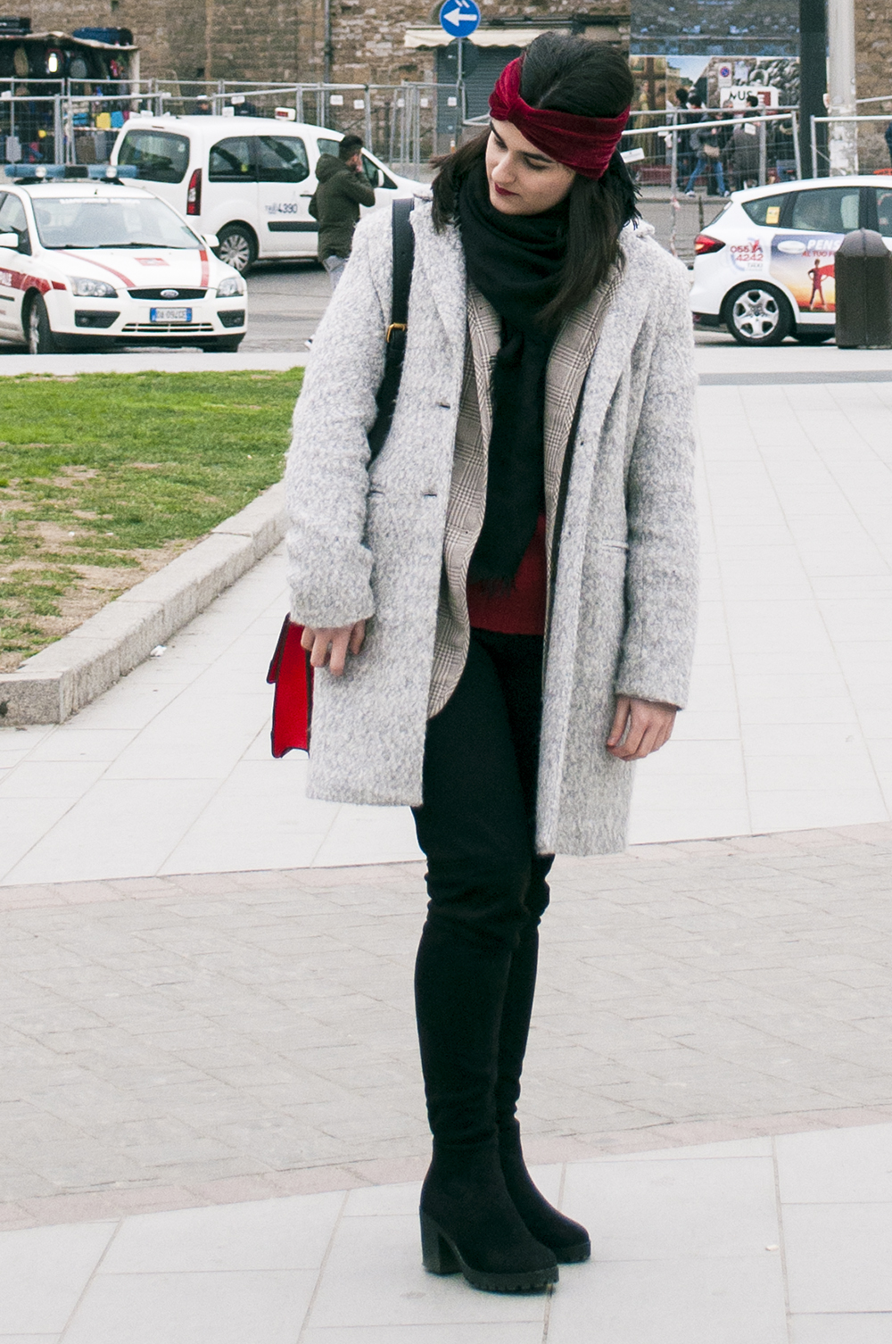 somethingfashion blogger firenze collaboration outfit casual turban diadem velvet red coat vintage italianbloggers_0689