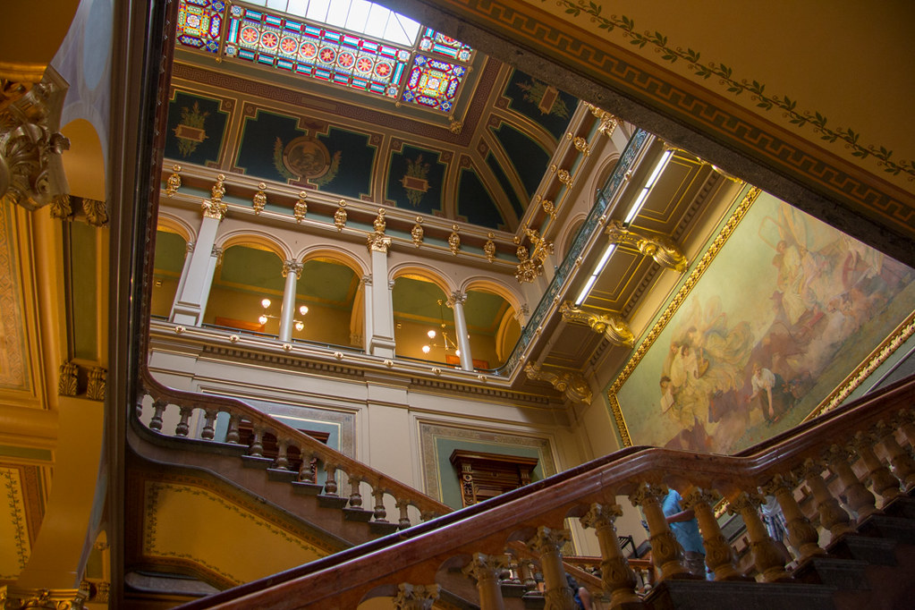 Stairways inside the Iowa State Capitol Building