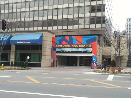 Colorful painting treatment around public parking entrance, Crystal City