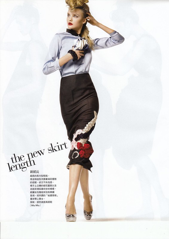 "the new skirt length:""Smart Moves"", Vogue Taiwan, No125, Feb, 2007. Photographed by Steven Meisel, Fashion editor Grace Coddington, Hair Julien d'Ys, Makeup Pat McGrath for Max Factor"