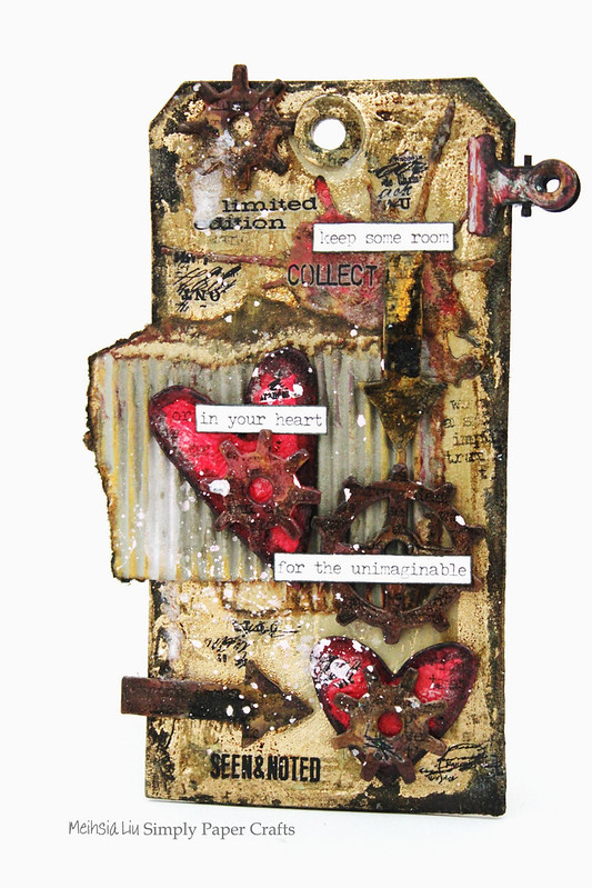 Meihsia Liu Simpl Paper Crafts Mixed Media Tag Room for Heart Simon Says Stamp Tim Holtz 100600