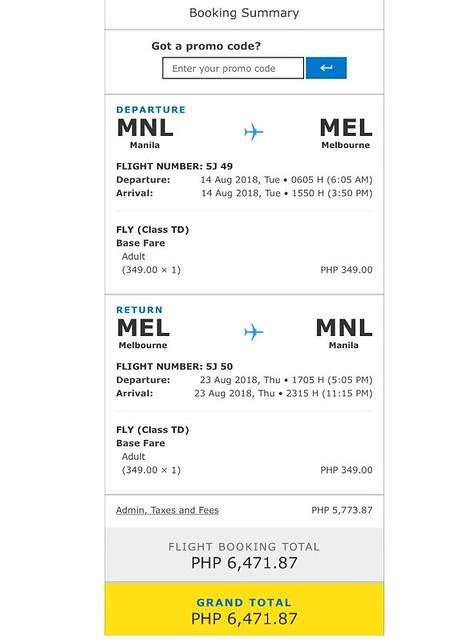 Manila to Melbourne Cebu Pacific Promo