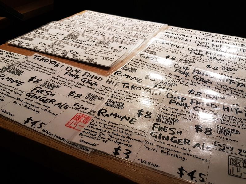 Ramen Isshin menu