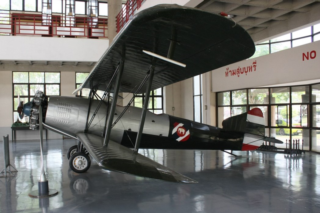 The Baribatra (บริพัตร, also spelled Boripatra or Boriphat) or Bomber Type 2 was a two-seater light bomber aircraft of the 1920s designed and built by the Royal Siamese Air Force's Aeronautical Workshops. A small number were built for the Thai Air Force, with the type being the first Thai-designed operational aircraft. It made its first flight on June 23, 1927. Replicas can be found today at the Royal Thai Air Force Museum and Don Muang Airport in Bangkok. Photo taken on January 13, 2018.