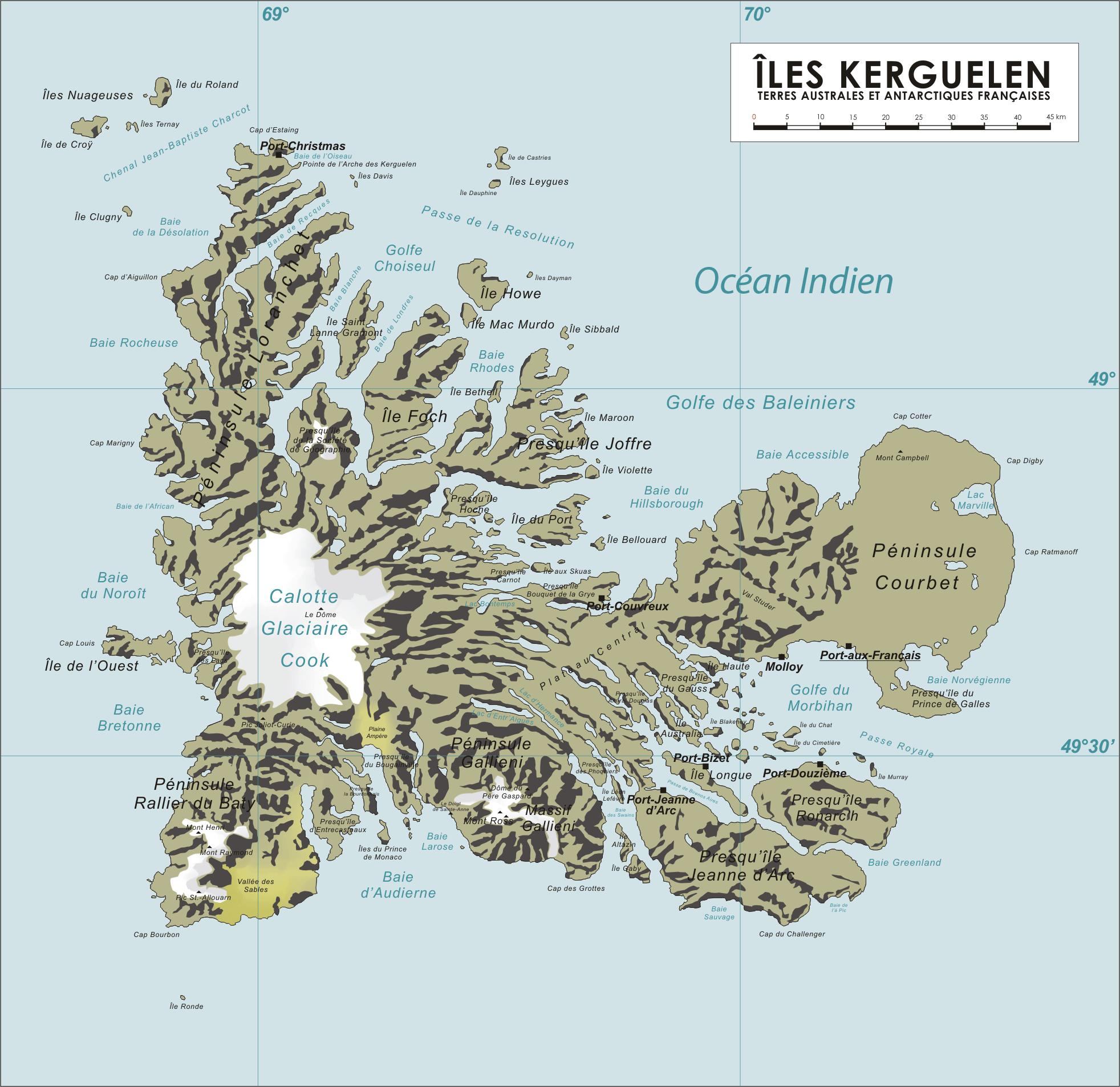 Kerguelen Islands map