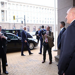Bulgarian PM Boyko Borissov welcomes Jean-Claude Juncker at the Council of Ministers in Sofia