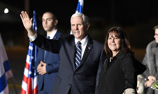 Vice President Mike Pence arrives at Israel's Ben Gurion Airport, January 21, 2018