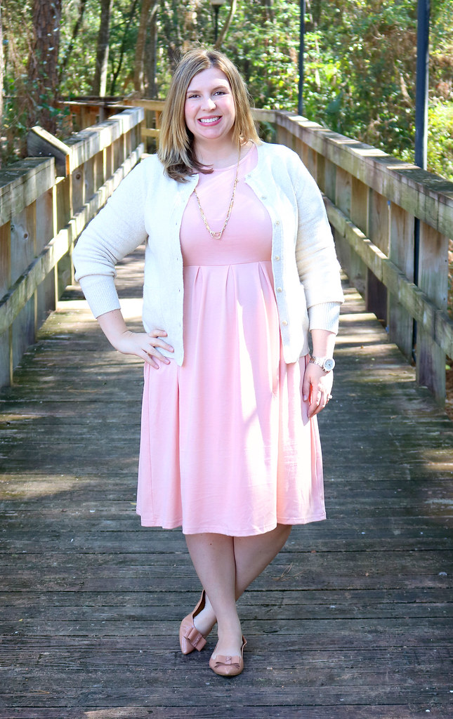 blush dress, cream cardigan, bow flats 1