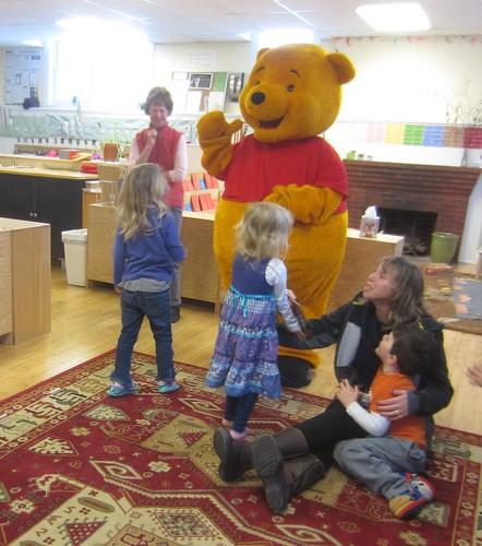 waving to Pooh