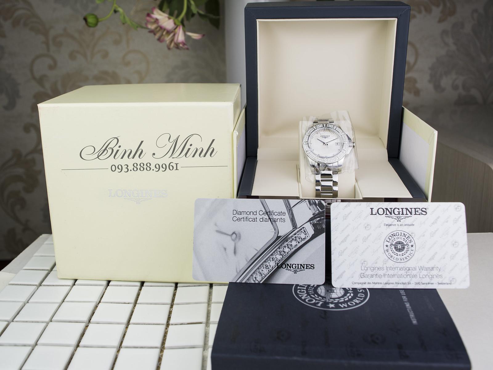 Đồng hồ Nữ Longines Conquest đính 132 viên kim cương mặt ngọc trai mới 100%, đủ hộp sổ, thẻ.