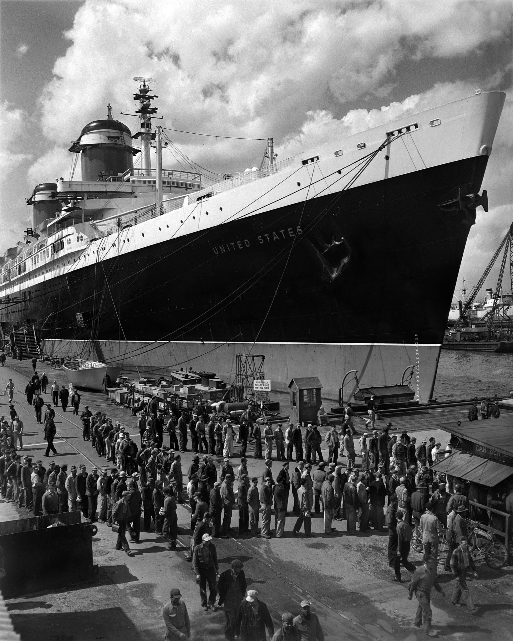 The construction of SS United States at Newport News, Virginia