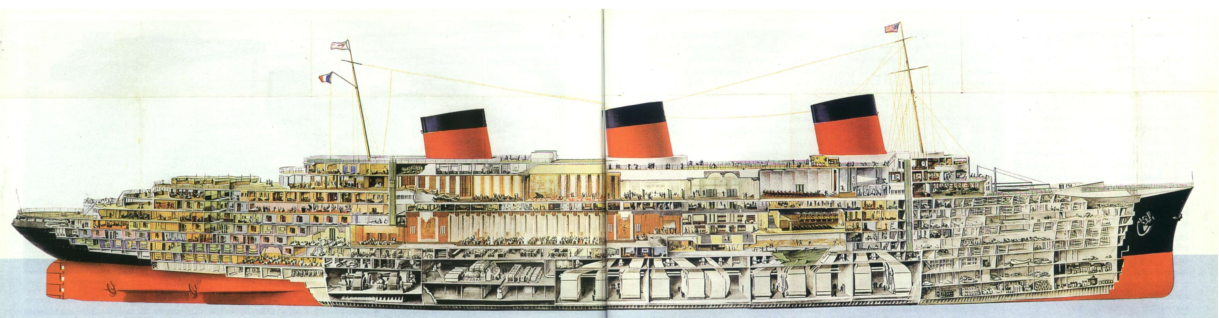 Cutaway view of SS Normandie.