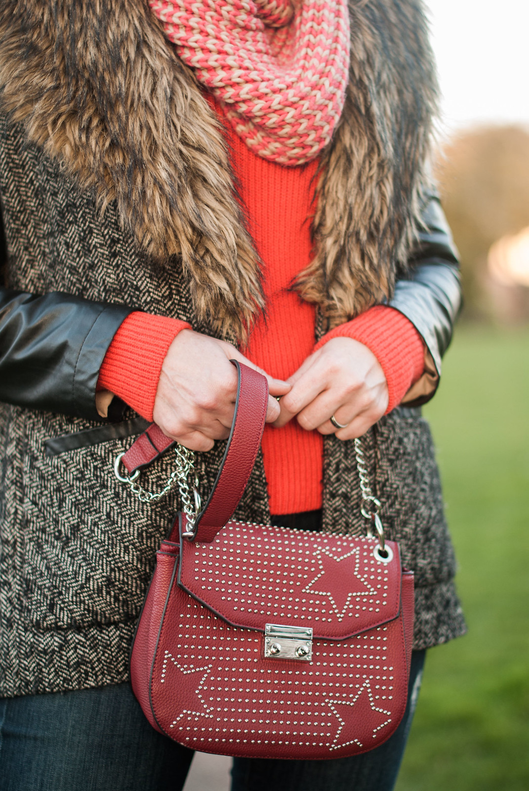 A Winter Outfit of Mixed Textures, Over 40 Style \ faux fur collar, tweed and leather coat \ knee high burgundy boots | Not Dressed As Lamb