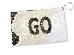 Wechsel Pailletten Patch STOP-GO, schwarzweiß, XL Farbwechsel Applikation ca.15x24cm