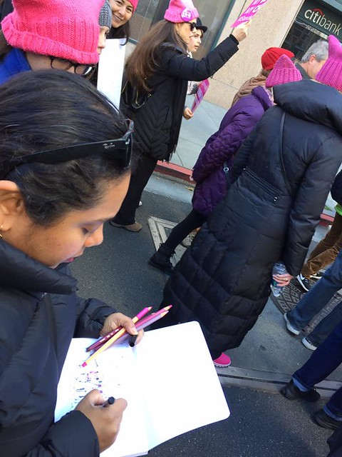 Sketching and marching - Women's March San Jose