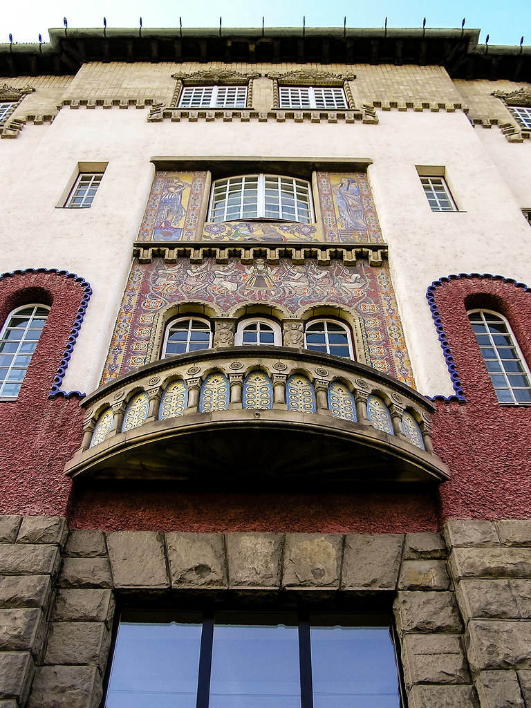 Colorful facade with reliefs