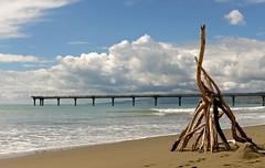 Beach Art.New Brighton Beach. NZ
