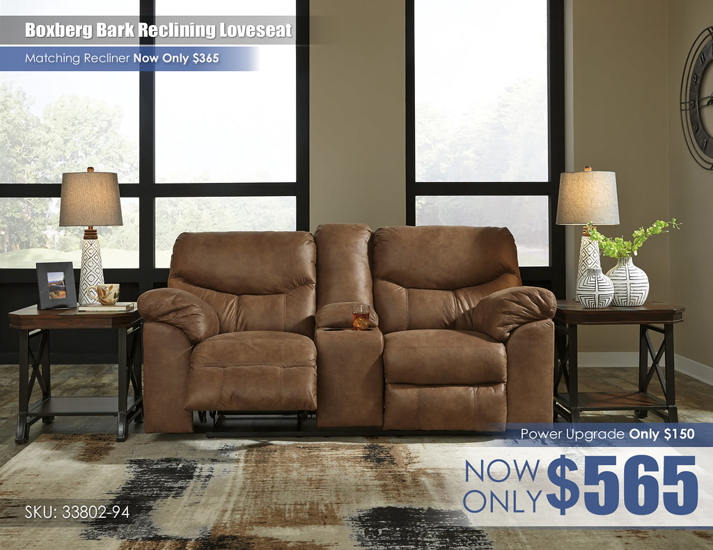 Boxberg Bark Reclining Loveseat 33802-94-SET