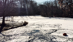 Frozen lake in Prospect Park near Boathouse