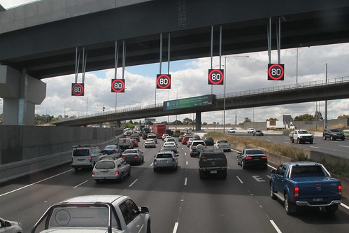 Variable speed limit signs hang from the new Bell Street ramp