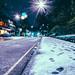 Midnight snowfall on Ecclesall Road