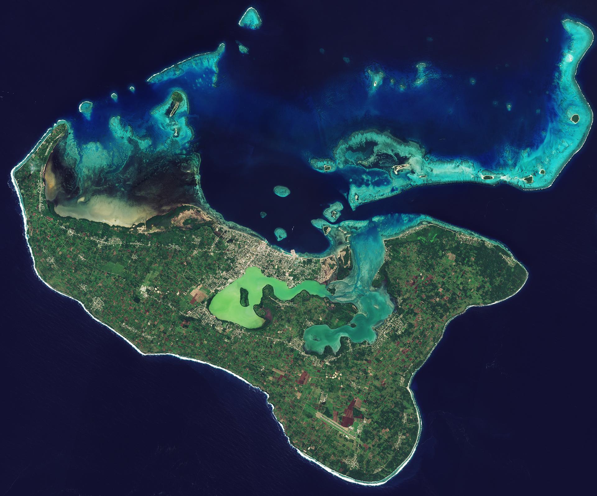 The main Tongan island of Tongapatu as seen from space.
