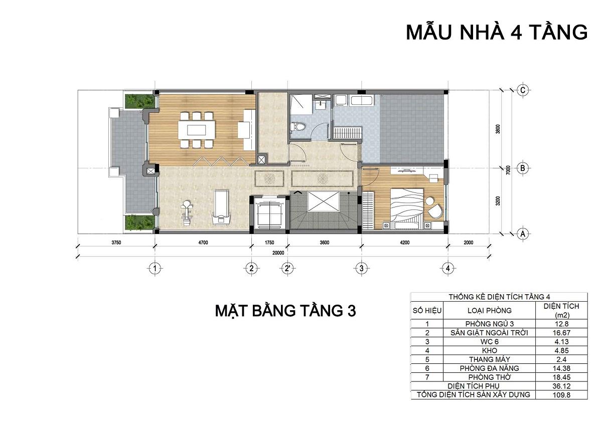 Mặt bằng tầng 3 biệt thự 4 tầng thuộc các lô LK3, LK4, LK5 biệt thự Hưng Phát Green Star.