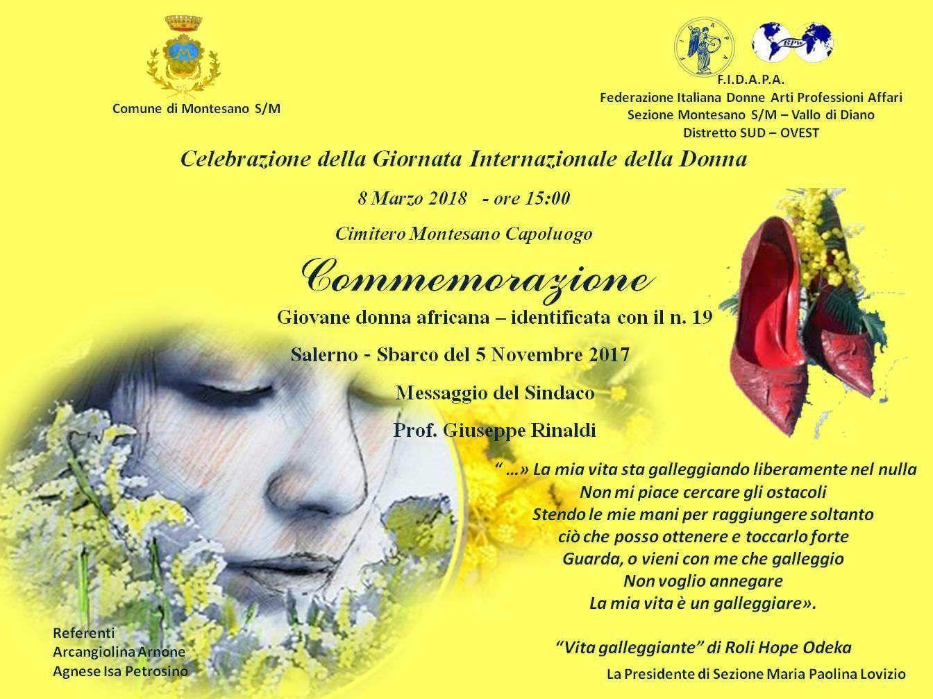 Celebrazione Giornata Internazionale della Donna 2018 a Montesano