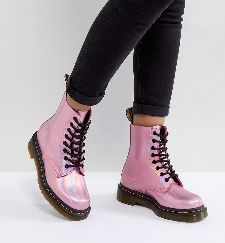 dr-martens-Pink-Leather-Holographic-Pink-Lace-Up-Boots