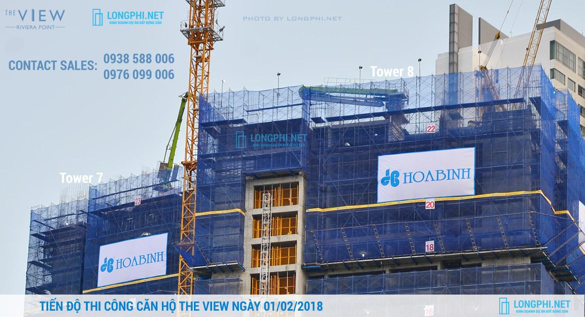 Cập nhật tiến độ thi công dự án căn hộ The View - Riviera Point ngày 01/02/2018. Ảnh: Hoàng Long (LongPhi.net).