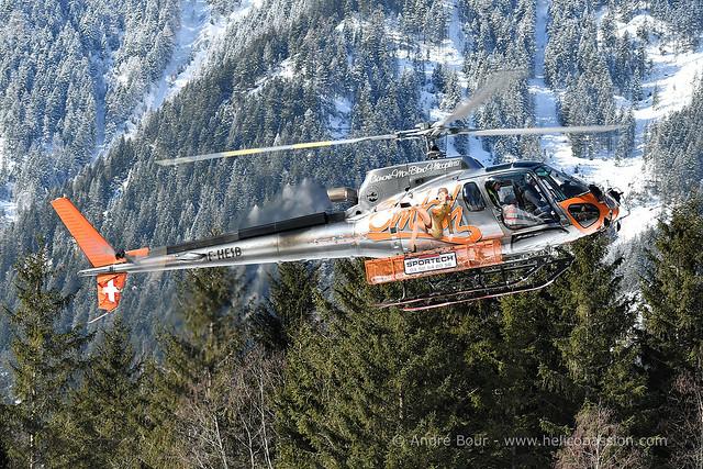AS350 B3 Ecureuil F-HESB helicopter, CMBH (Chamonix Mont-Blanc Hélicoptères), Chamonix, DZ des Bois, 2018