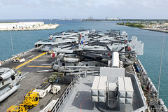 The USS America (LHA 6) departs Guam following a scheduled port visit, Jan. 12. (U.S. Navy/MC3 Vance Hand)