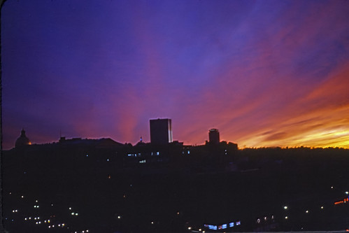 Sunset Behind Beacon Hill Viewed From Charles-MGH Station - 1980s