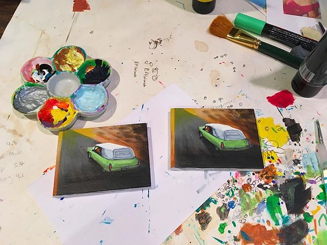 """Working on a set of """"Six Feet Under"""" hearse paintings for my mom and aunt."""