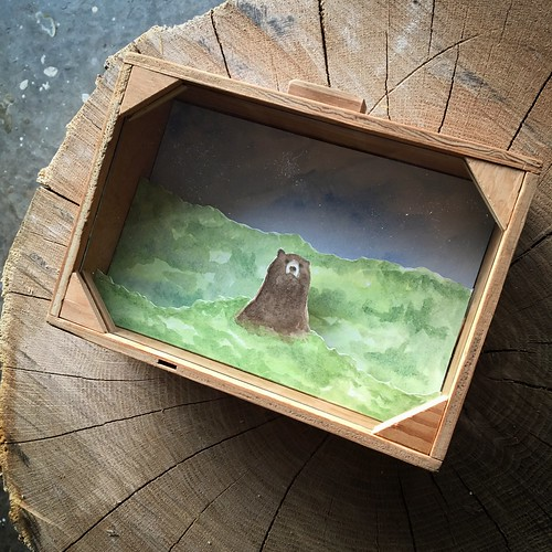 Brown bear watercolor diorama