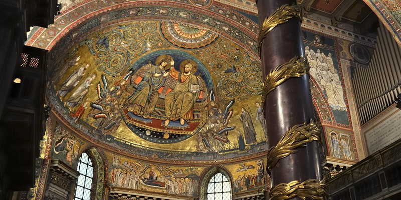 'Coronation of the Virgin' apse mosaic, Jacopo Torriti, 1295 - Santa Maria Maggiore, Rome.